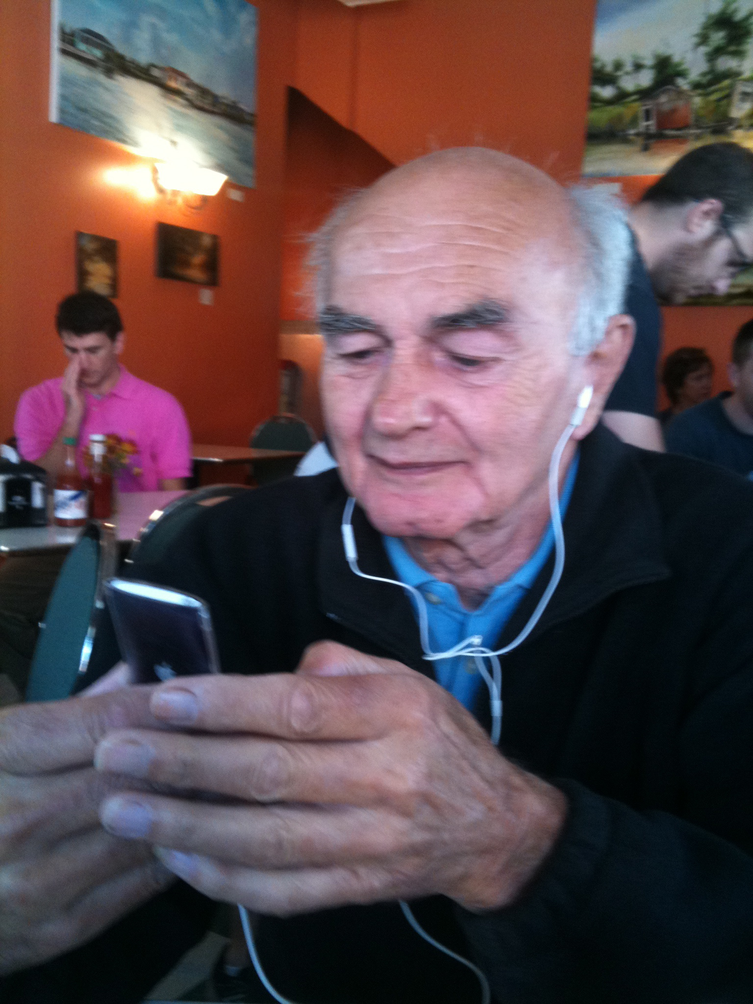 Tom Stagg experimenting with an iPod.