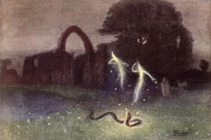 Will-o'-the-wisp and Snake (colour litho); by Hendrich, Hermann (b.1856) (after); colour lithograph; Bibliotheque des Arts Decoratifs, Paris, France; Archives Charmet; German, out of copyright