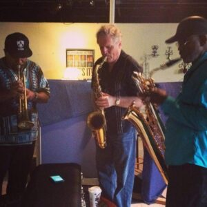 Saxophonist John Doheny jams with Chuck Bee (l) and Roger Lewis (r).