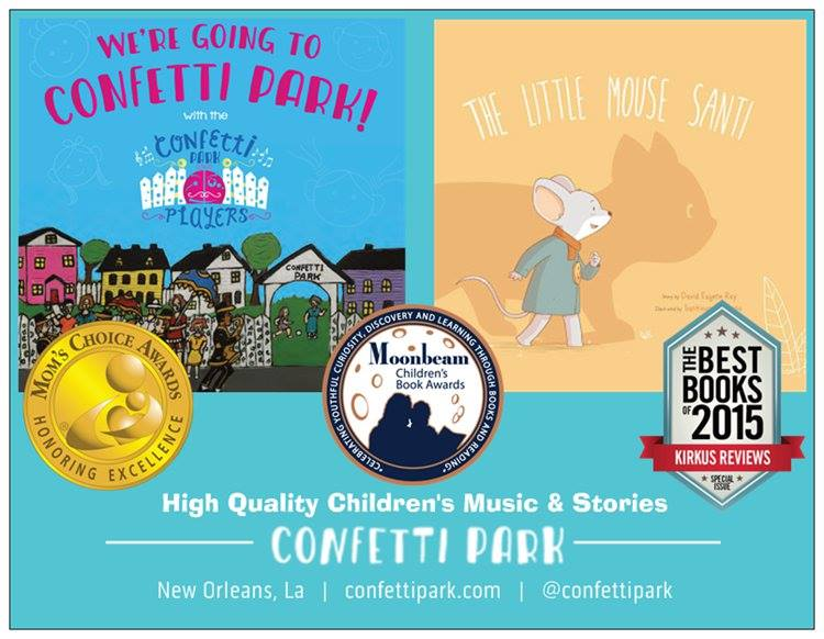 Confetti Park: Enjoy free shipping & 20% off children's books and CDs from the Confetti Park workshop, created right here in New Orleans. Use code 'nolakids' when you order directly through Confetti Park at confettipark.com/shop.