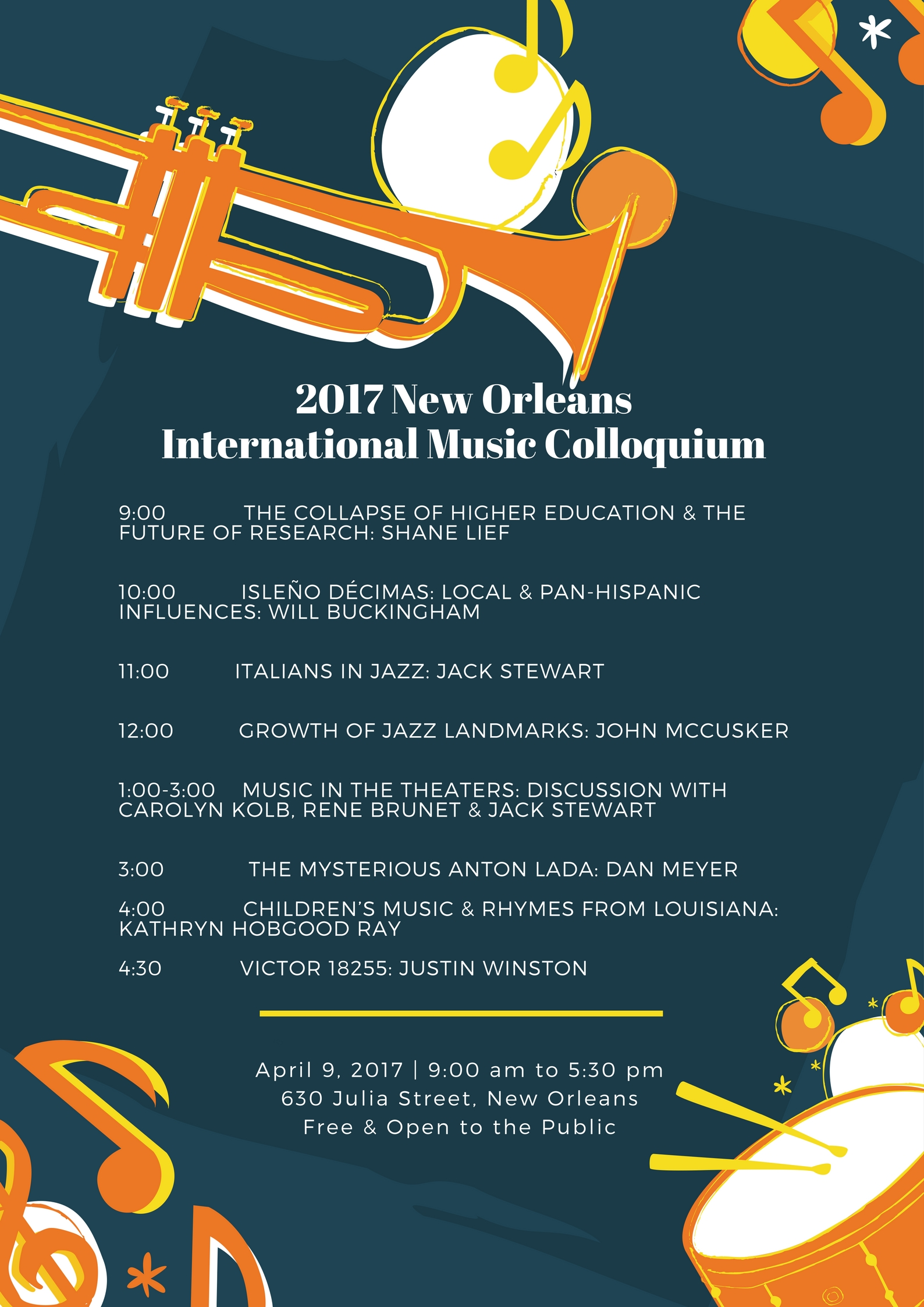 Lineup of presenters at the 2017 New Orleans International Music Colloquium